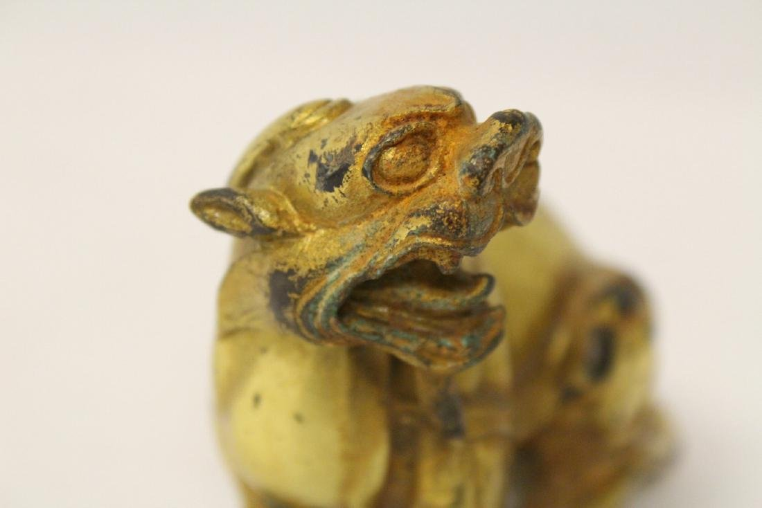 A gilt bronze qilin - 9