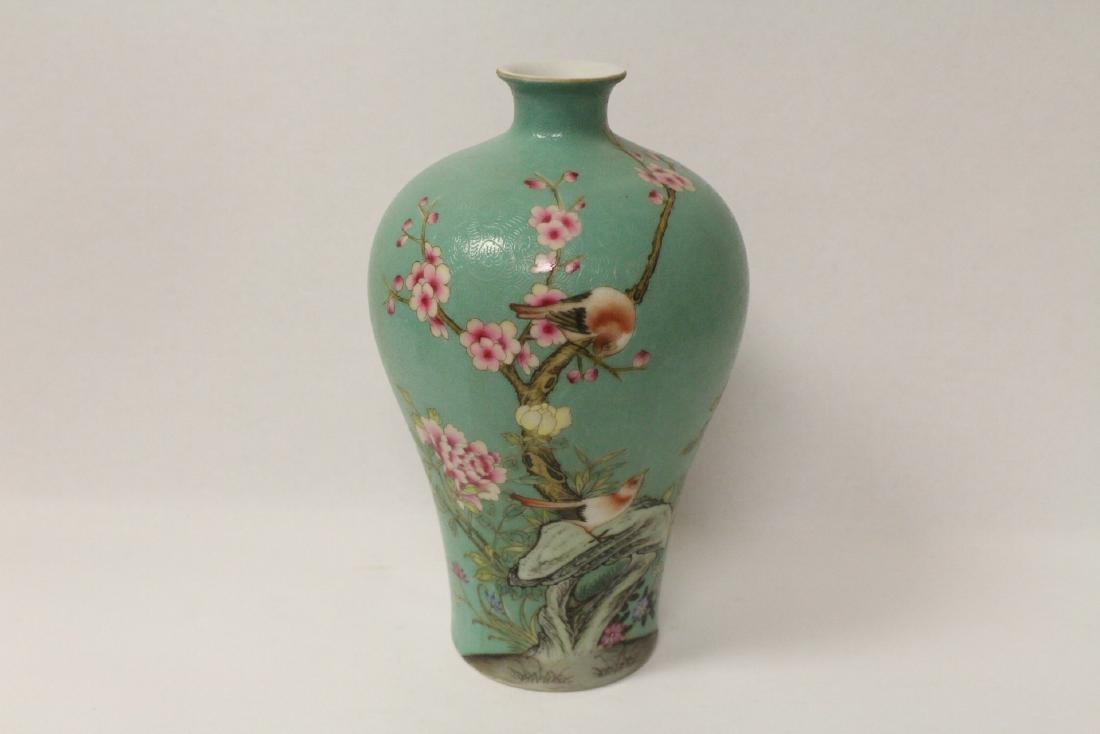 Green background famille rose porcelain vase