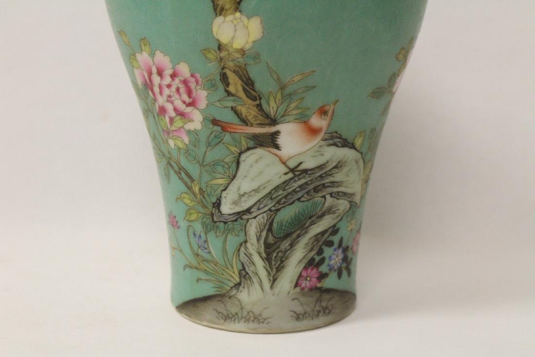 Green background famille rose porcelain vase - 5
