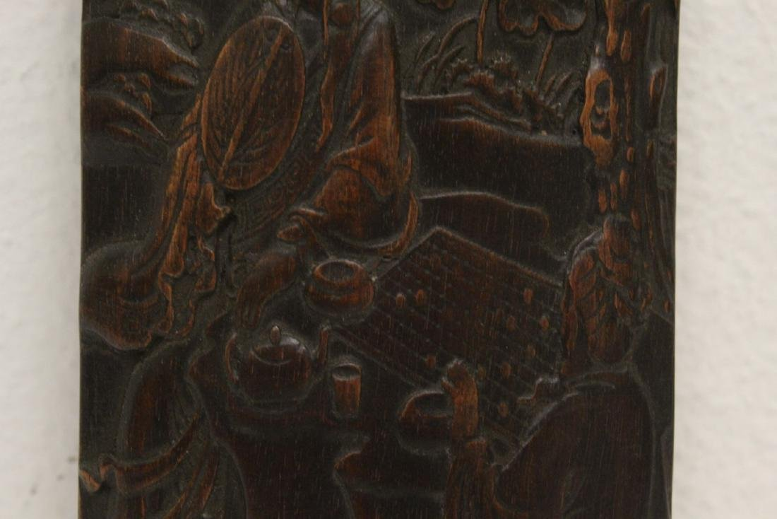 A fine bamboo carved armrest - 4