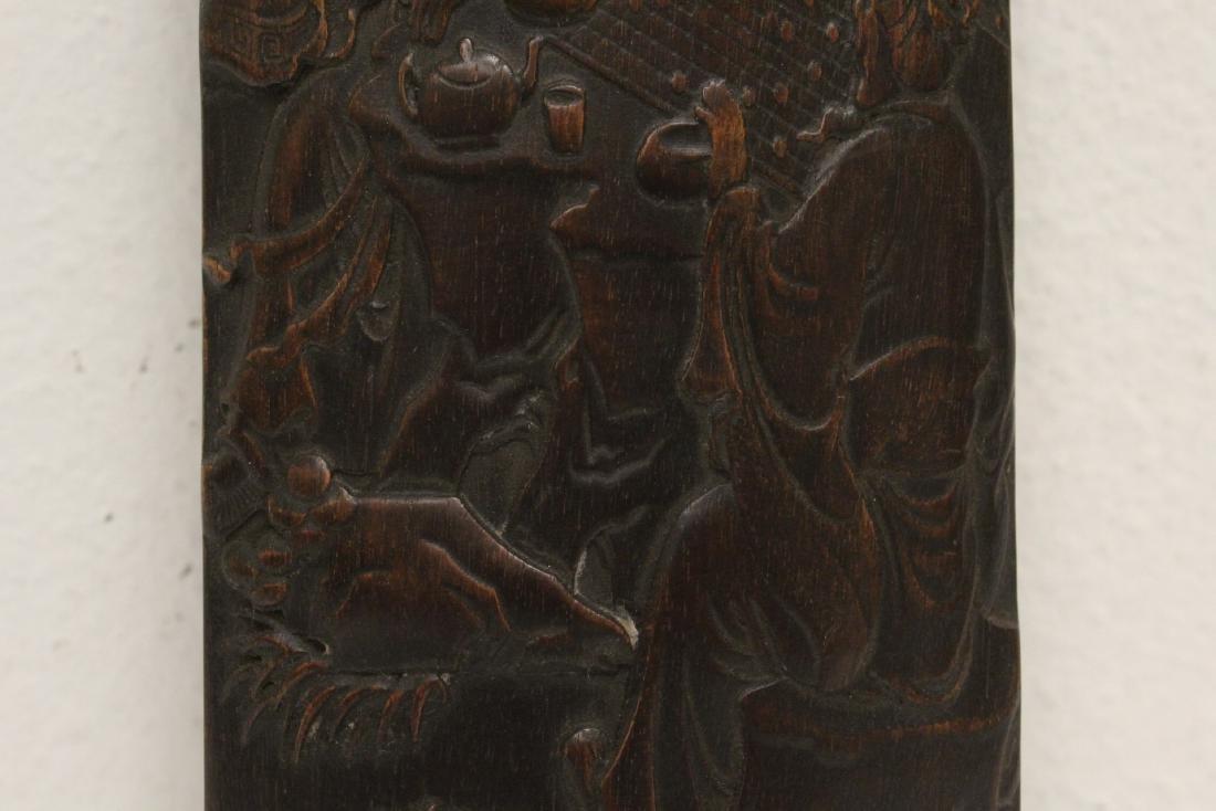 A fine bamboo carved armrest - 5