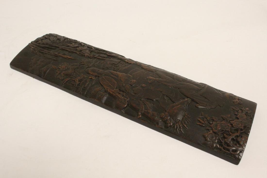 A fine bamboo carved armrest - 9