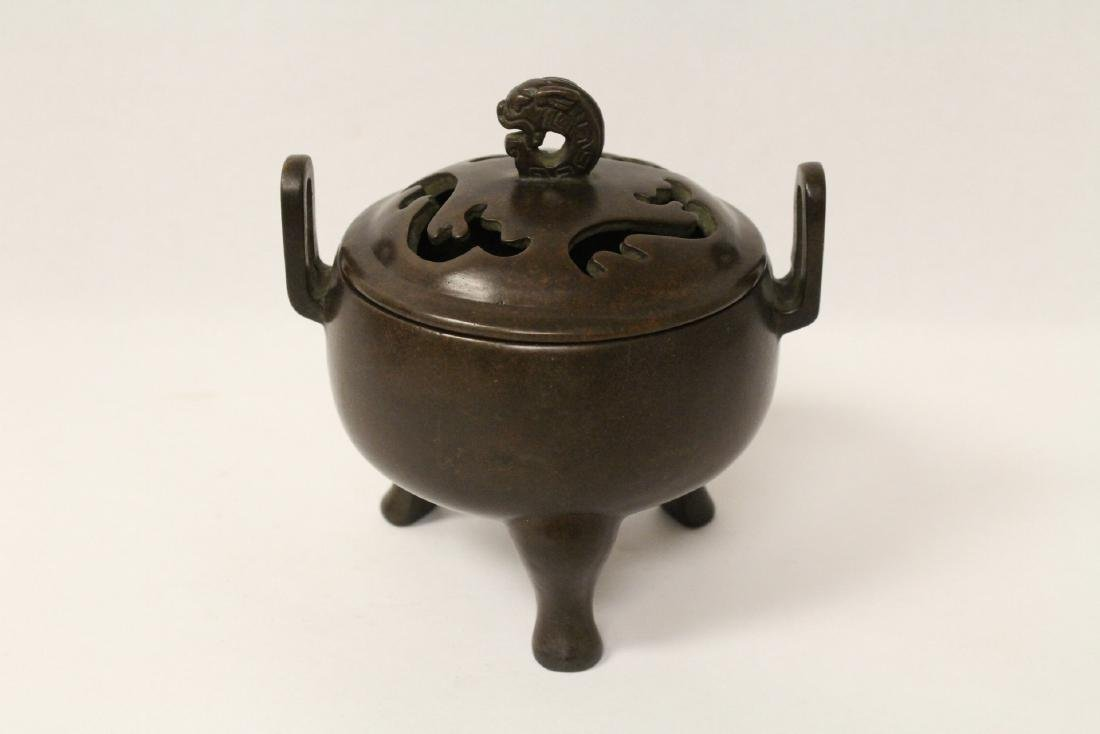A very heavy bronze covered censer