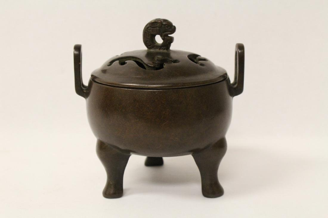 A very heavy bronze covered censer - 5