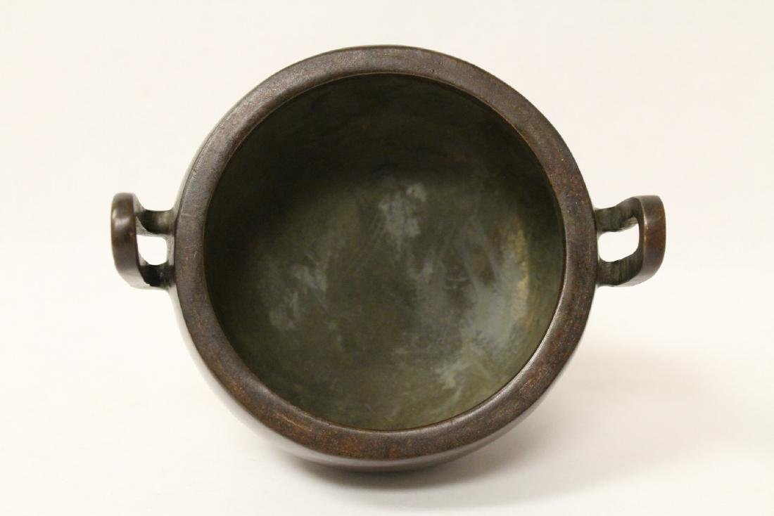 A very heavy bronze covered censer - 8