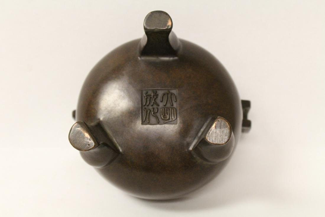 A very heavy bronze covered censer - 9