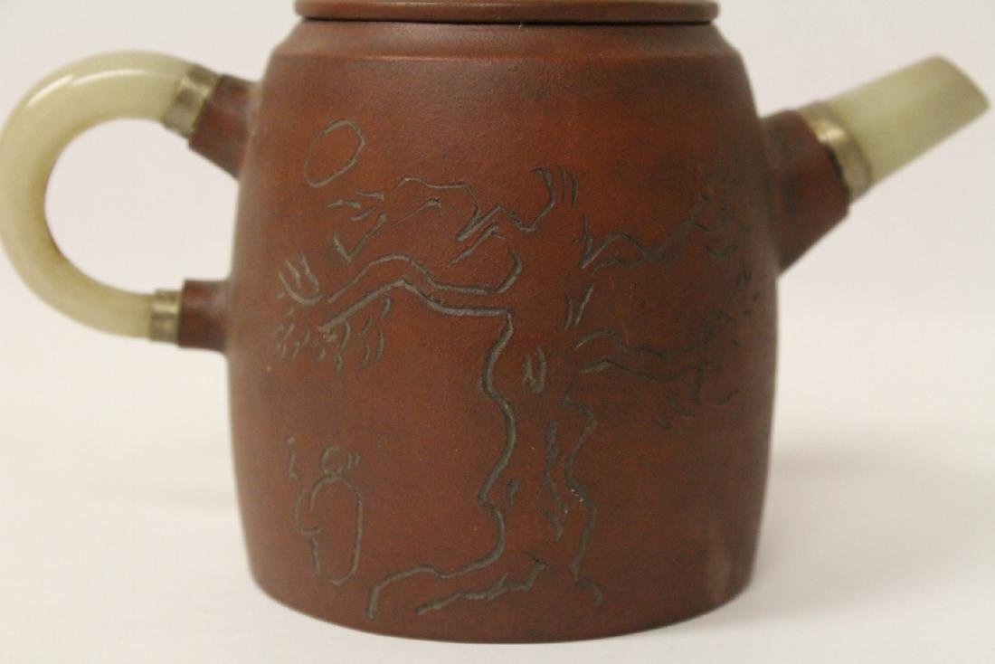 Yixing teapot with jade handle and sprout - 6