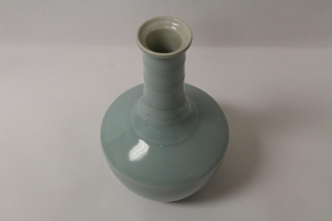 Sky blue glazed porcelain vase - 9