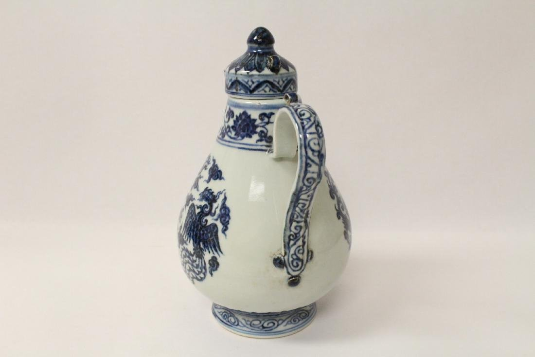 Blue and white porcelain wine server - 7