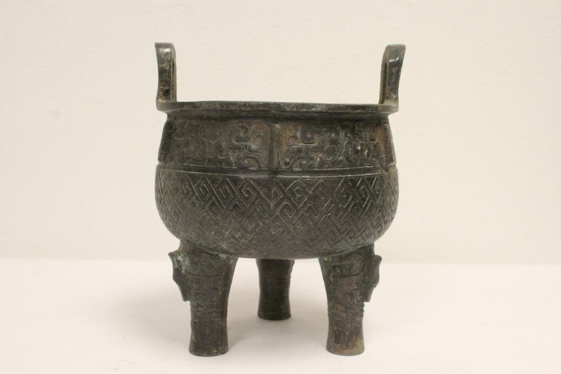 Archaic style bronze ding - 3