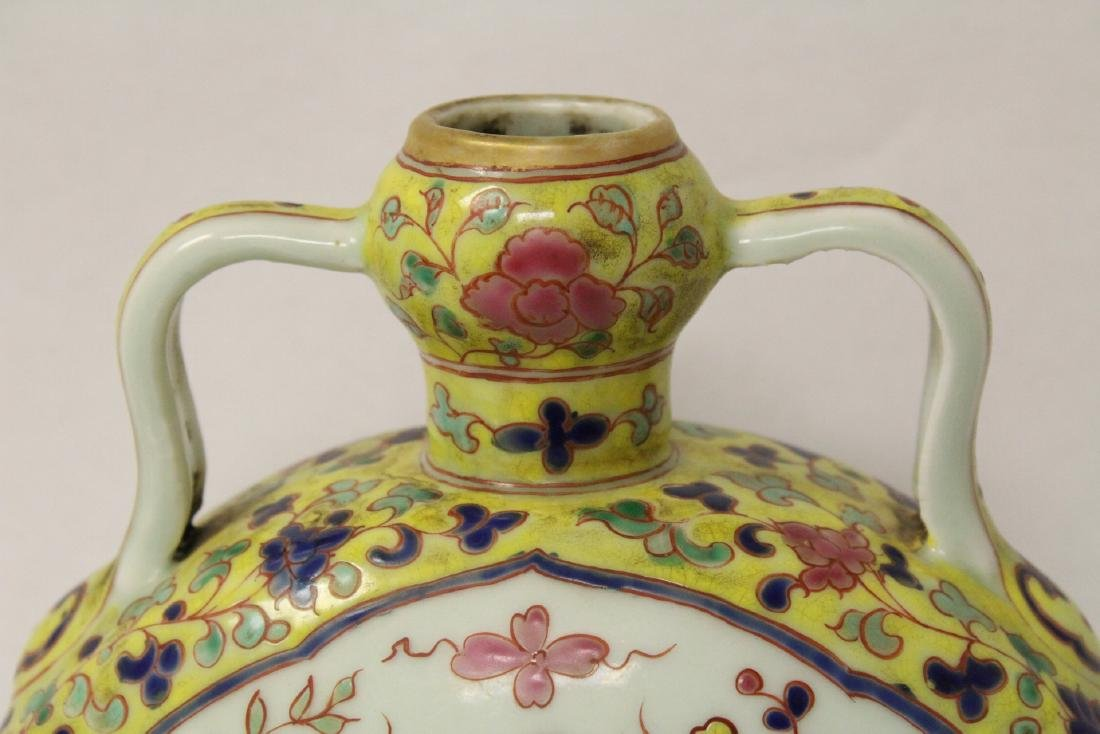 Unusual Chinese wucai porcelain wine flask - 3
