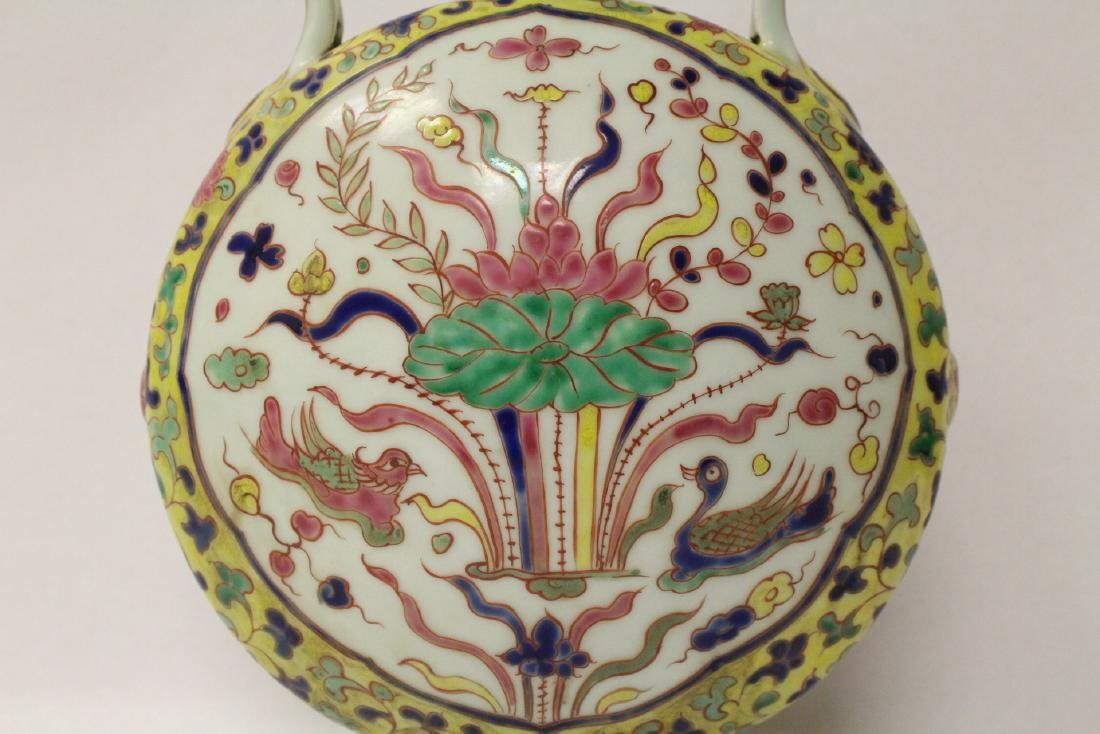 Unusual Chinese wucai porcelain wine flask - 4