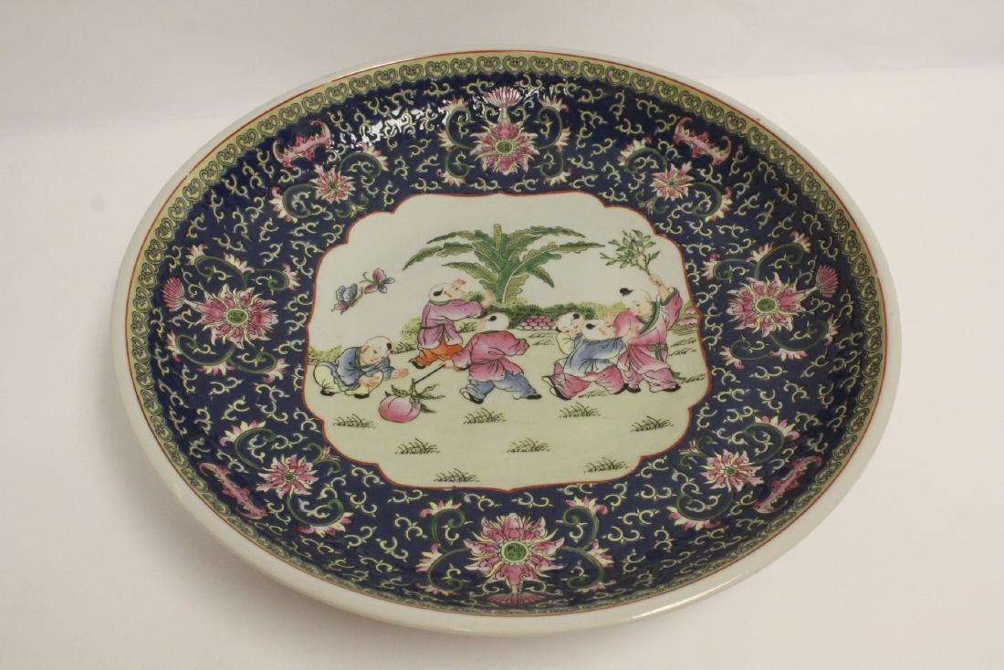 large Chinese famille rose porcelain charger - 10