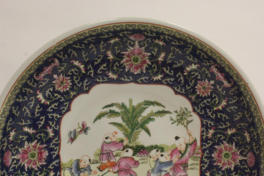 large Chinese famille rose porcelain charger - 2