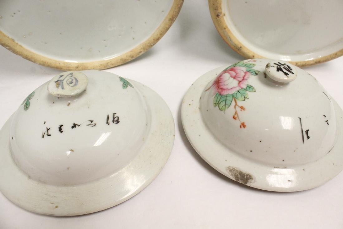 Pr Chinese vintage wucai porcelain covered jars - 10