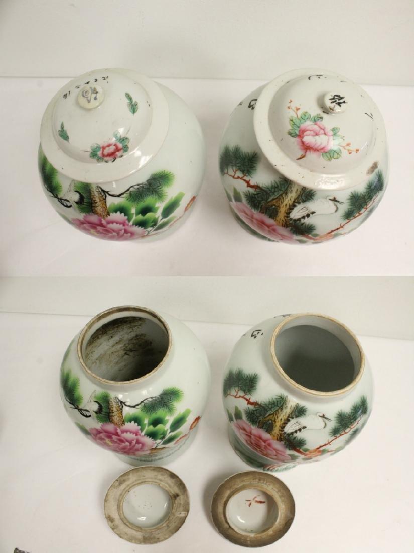Pr Chinese vintage wucai porcelain covered jars - 5