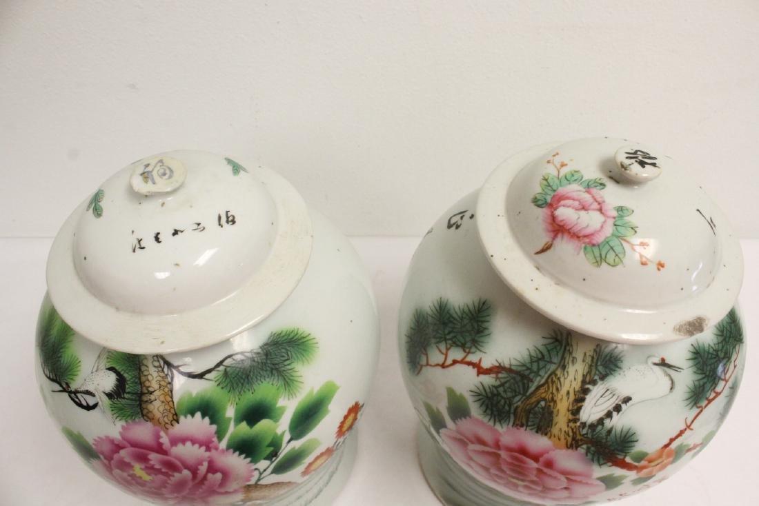 Pr Chinese vintage wucai porcelain covered jars - 6