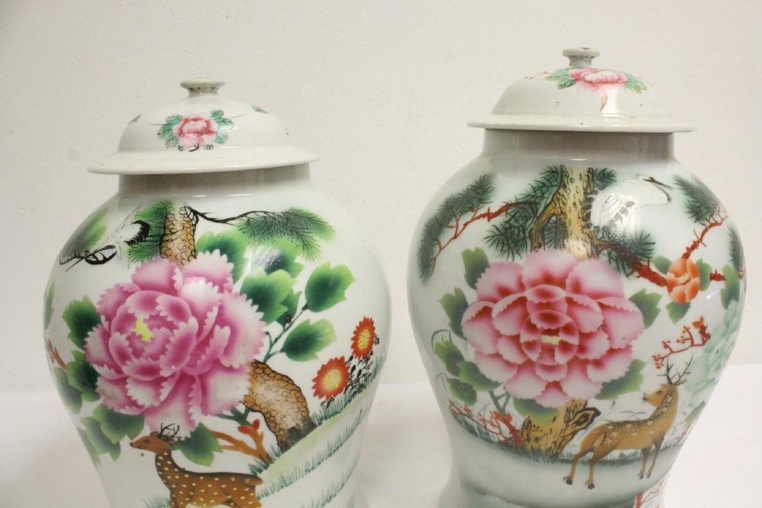 Pr Chinese vintage wucai porcelain covered jars - 7