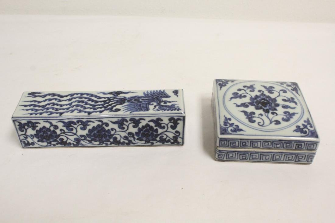 2 Chinese blue and white pieces