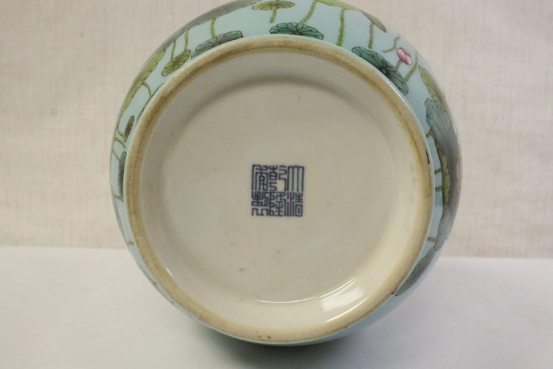 Chinese blue background famille rose porcelain vase - 10