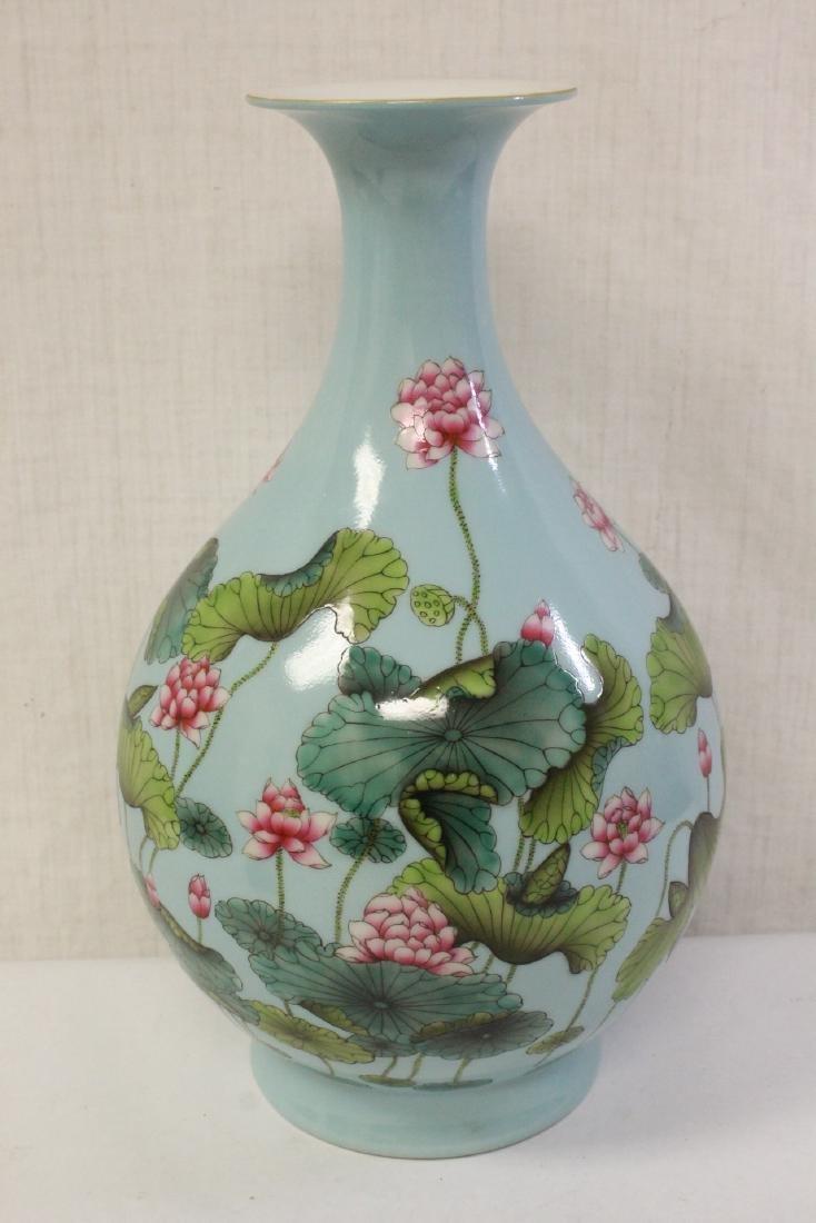 Chinese blue background famille rose porcelain vase