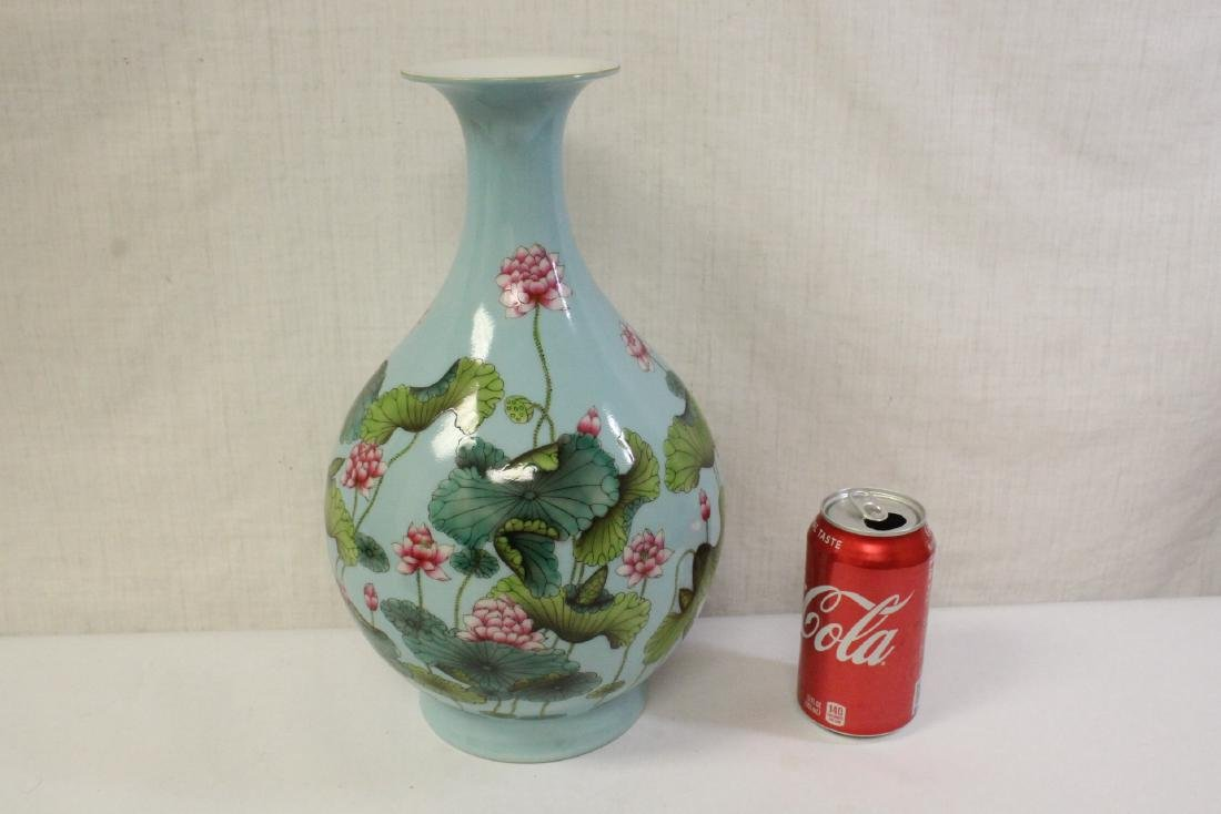 Chinese blue background famille rose porcelain vase - 2