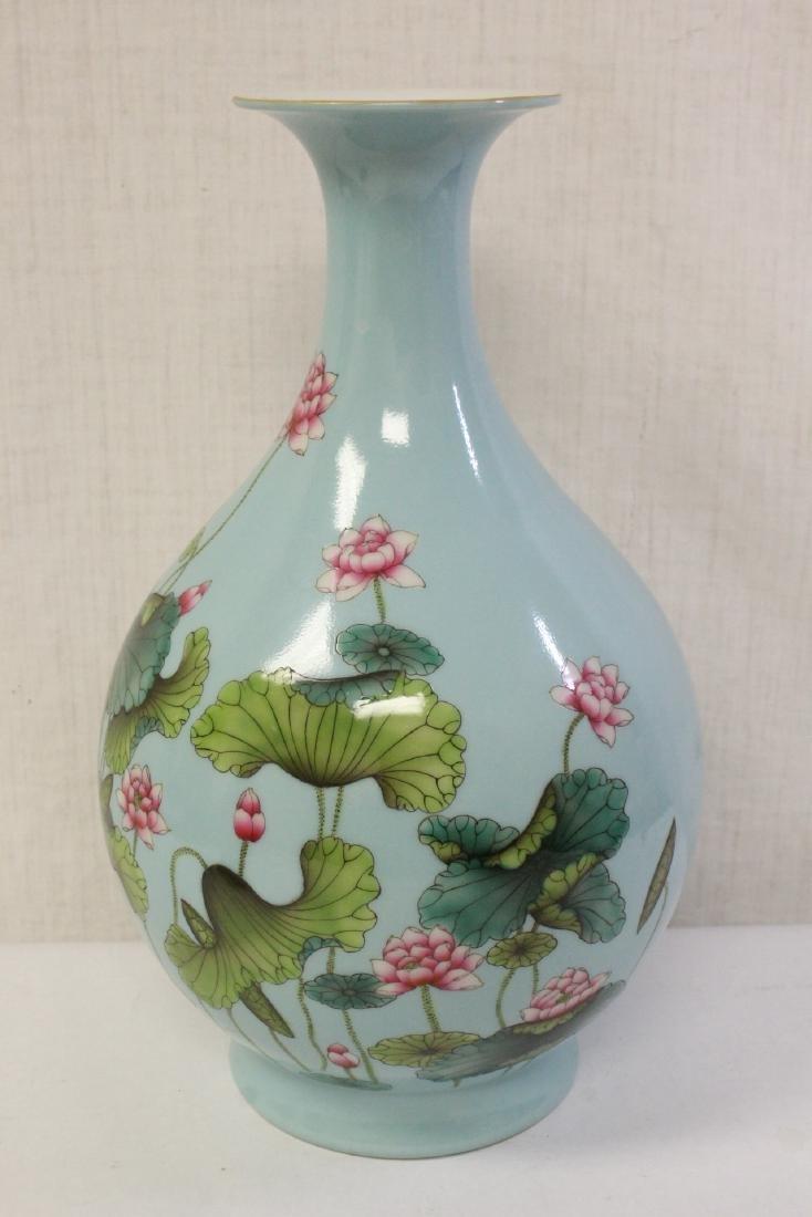 Chinese blue background famille rose porcelain vase - 3