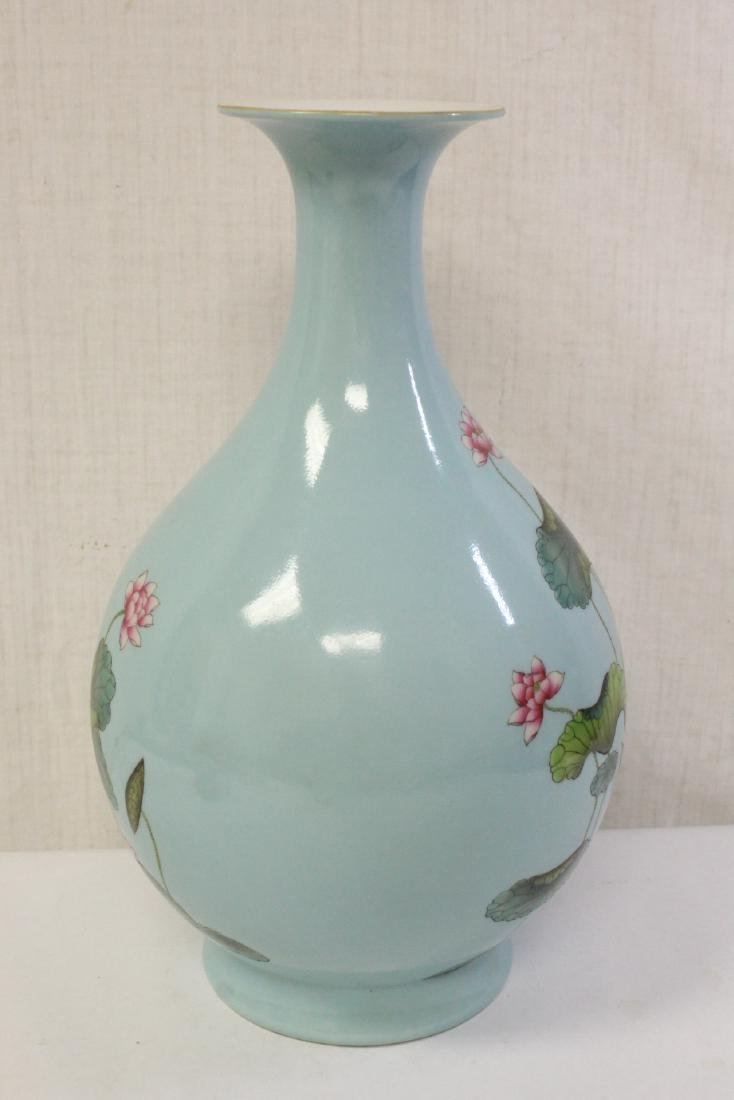 Chinese blue background famille rose porcelain vase - 4