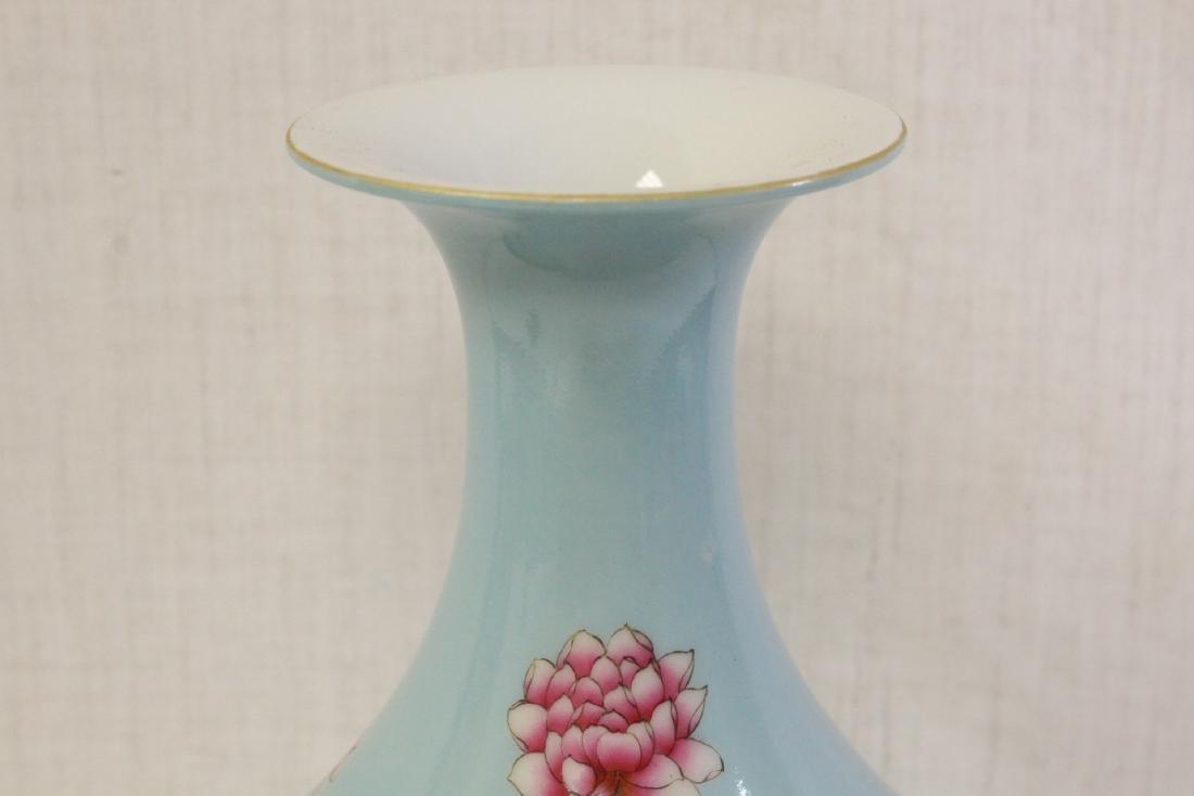 Chinese blue background famille rose porcelain vase - 6