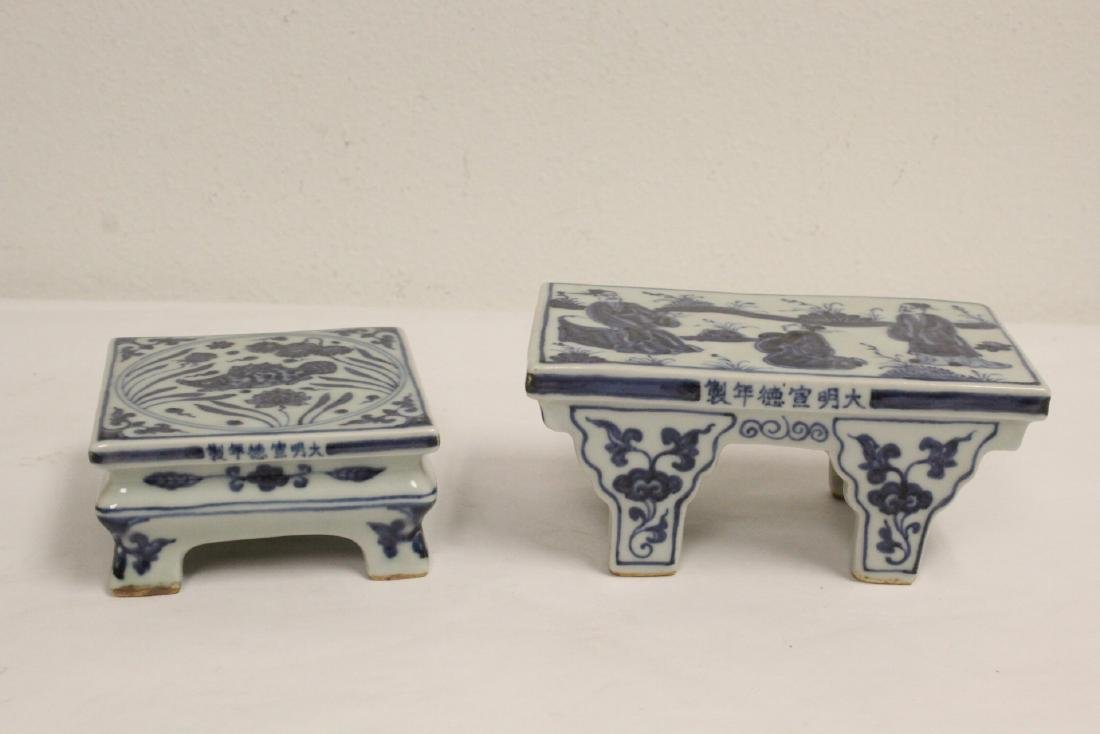 2 Chinese blue and white porcelain pedestal stands