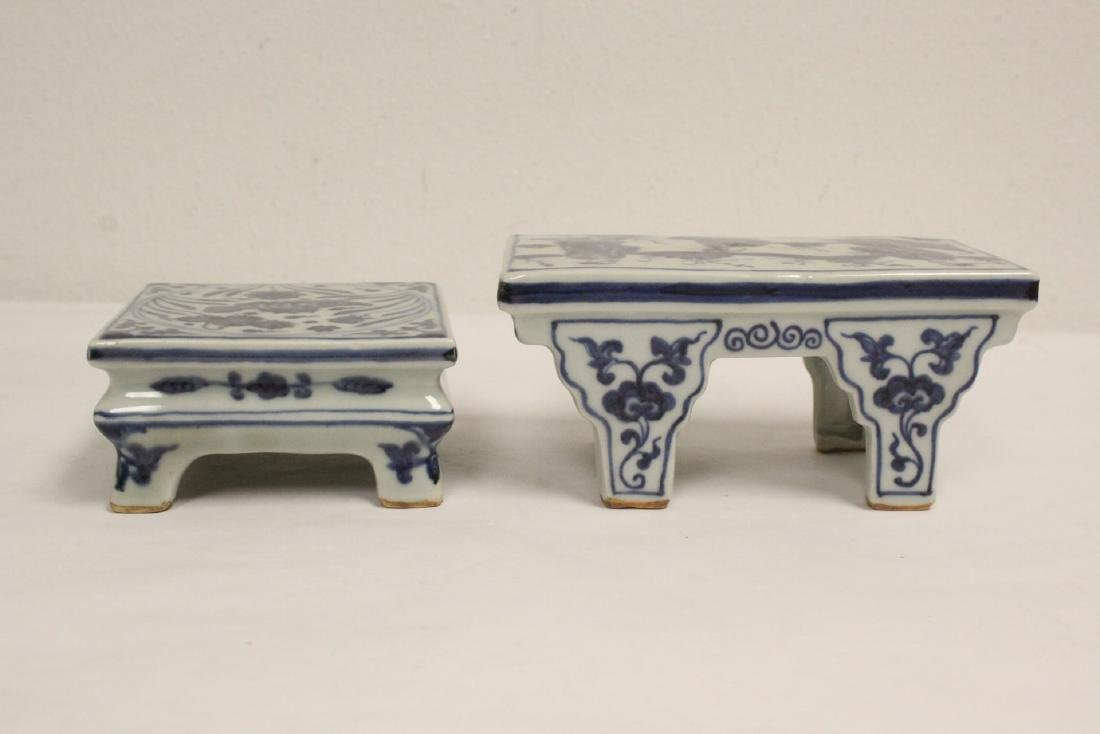 2 Chinese blue and white porcelain pedestal stands - 4
