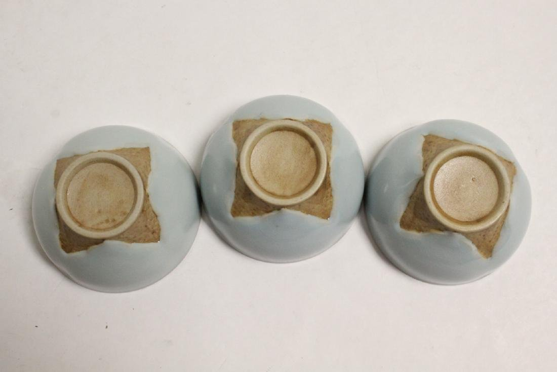 6 Chinese Song style celadon tea cups - 10