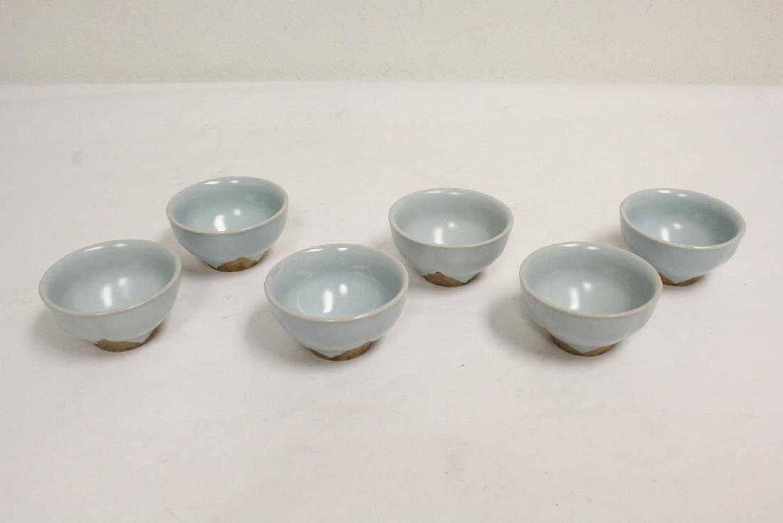 6 Chinese Song style celadon tea cups