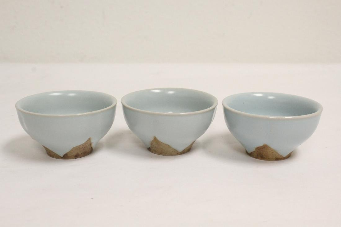 6 Chinese Song style celadon tea cups - 3