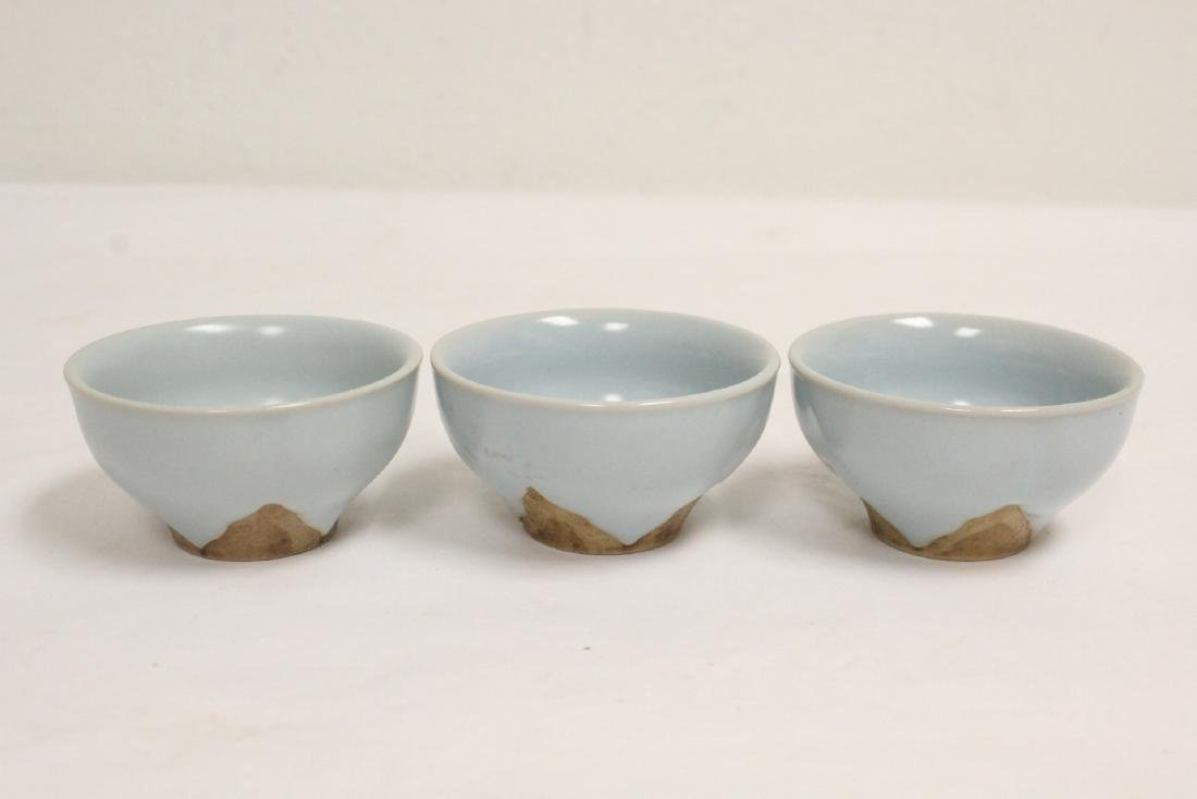 6 Chinese Song style celadon tea cups - 8