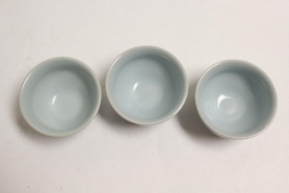 6 Chinese Song style celadon tea cups - 9
