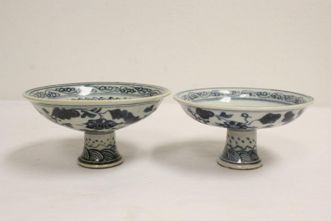 2 Chinese blue and white porcelain stem bowls - 3