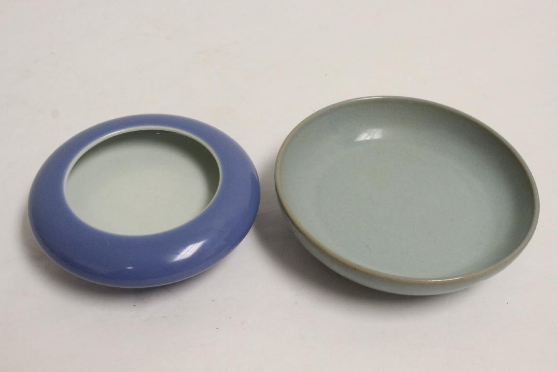 2 Chinese blue glazed brush washes - 10