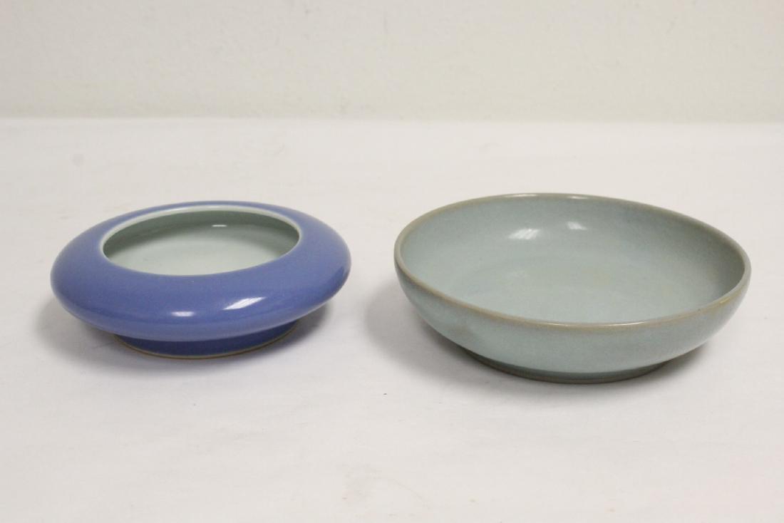 2 Chinese blue glazed brush washes