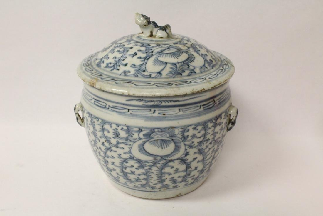Blue and white jar & an antique b&w covered bowl - 2