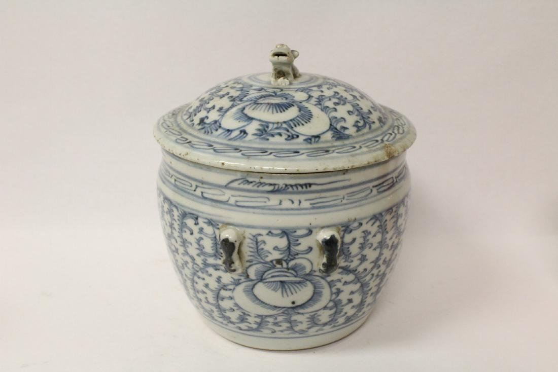 Blue and white jar & an antique b&w covered bowl - 3