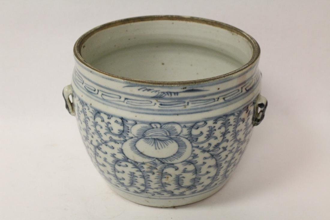 Blue and white jar & an antique b&w covered bowl - 5