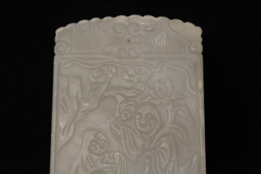 Chinese white jade like plaque with calligraphy - 3