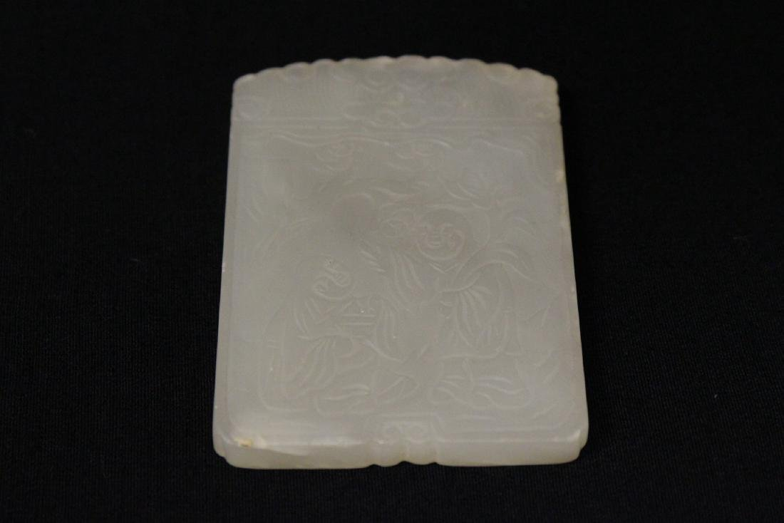 Chinese white jade like plaque with calligraphy - 8