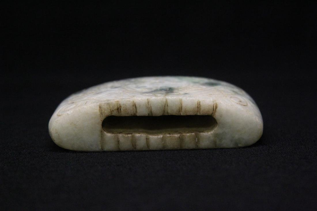 Chinese jadeite carved belt buckle - 6