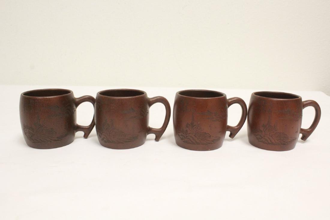 4 Yixing teapots