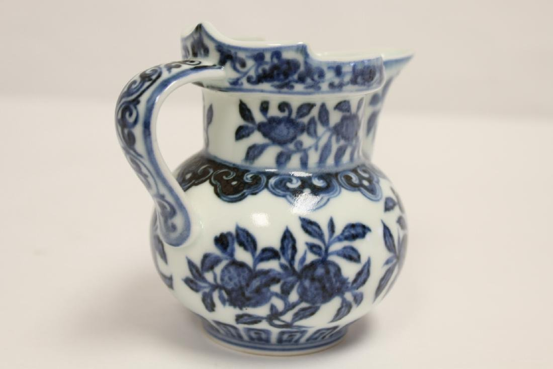 Blue and white porcelain pitcher - 10