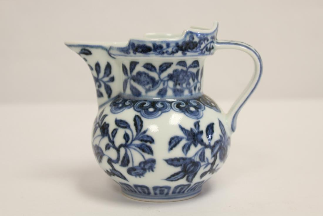 Blue and white porcelain pitcher