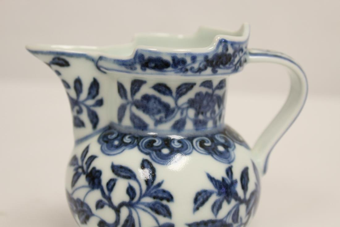 Blue and white porcelain pitcher - 6