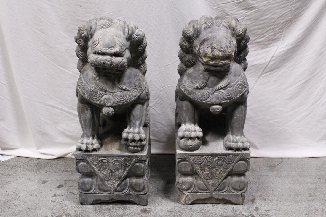 Pair Chinese vintage stone carved fulion